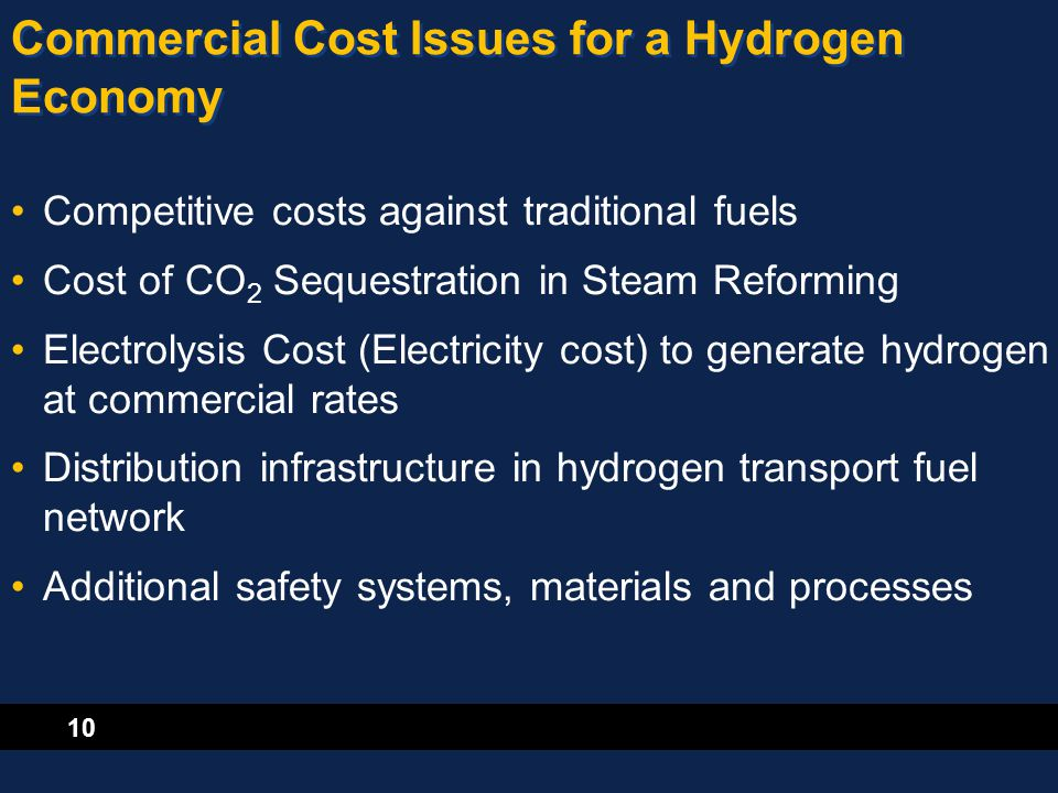 10 Commercial Cost Issues for a Hydrogen Economy Competitive costs against traditional fuels Cost of CO 2 Sequestration in Steam Reforming Electrolysi