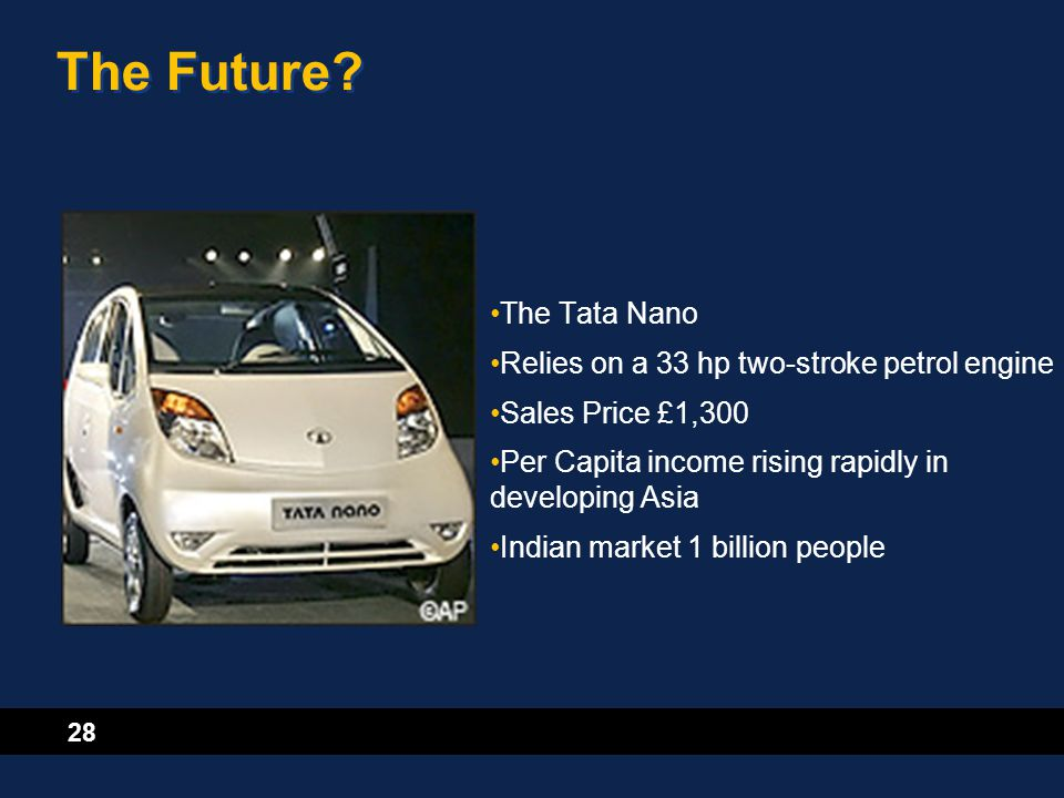 28 The Future? The Tata Nano Relies on a 33 hp two-stroke petrol engine Sales Price £1,300 Per Capita income rising rapidly in developing Asia Indian