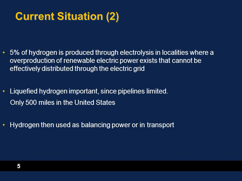 5 Current Situation (2) 5% of hydrogen is produced through electrolysis in localities where a overproduction of renewable electric power exists that c