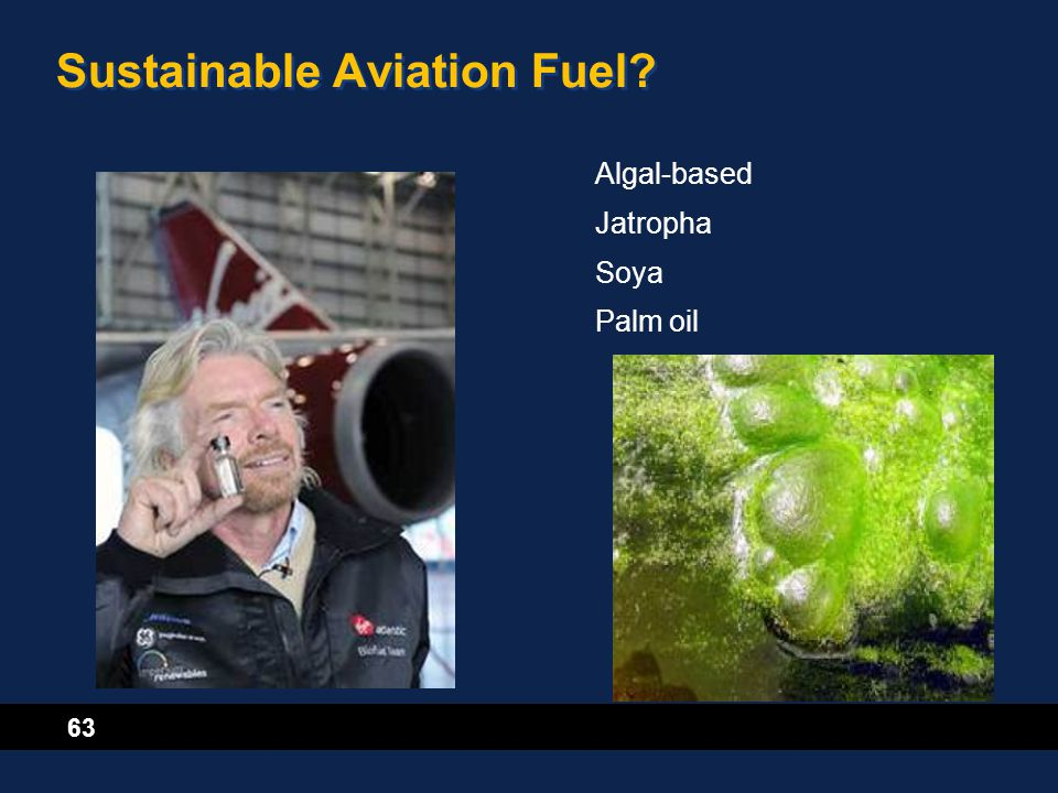 63 Sustainable Aviation Fuel? Algal-based Jatropha Soya Palm oil