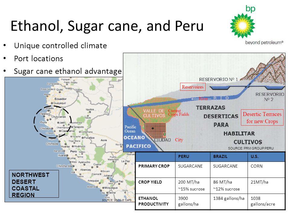 NORTHWEST DESERT COASTAL REGION SOURCE: GOOGLE MAPS Ethanol, Sugar cane, and Peru SOURCE: PRM GROUP PERU PERUBRAZILU.S.