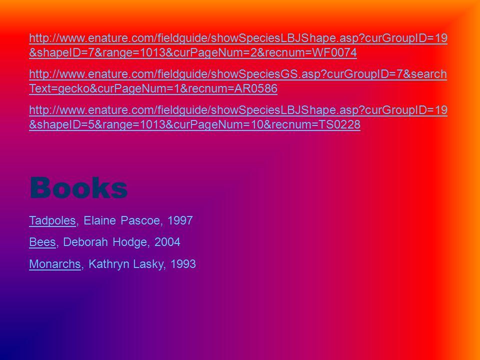 http://www.enature.com/fieldguide/showSpeciesLBJShape.asp curGroupID=19 &shapeID=7&range=1013&curPageNum=2&recnum=WF0074 http://www.enature.com/fieldguide/showSpeciesGS.asp curGroupID=7&search Text=gecko&curPageNum=1&recnum=AR0586 http://www.enature.com/fieldguide/showSpeciesLBJShape.asp curGroupID=19 &shapeID=5&range=1013&curPageNum=10&recnum=TS0228 Books Tadpoles, Elaine Pascoe, 1997 Bees, Deborah Hodge, 2004 Monarchs, Kathryn Lasky, 1993