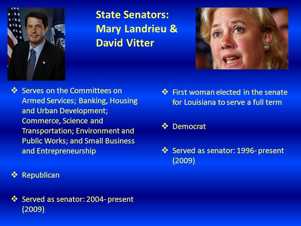 State Senators: Mary Landrieu & David Vitter  Serves on the Committees on Armed Services; Banking, Housing and Urban Development; Commerce, Science and Transportation; Environment and Public Works; and Small Business and Entrepreneurship  Republican  Served as senator: 2004- present (2009)  First woman elected in the senate for Louisiana to serve a full term  Democrat  Served as senator: 1996- present (2009)