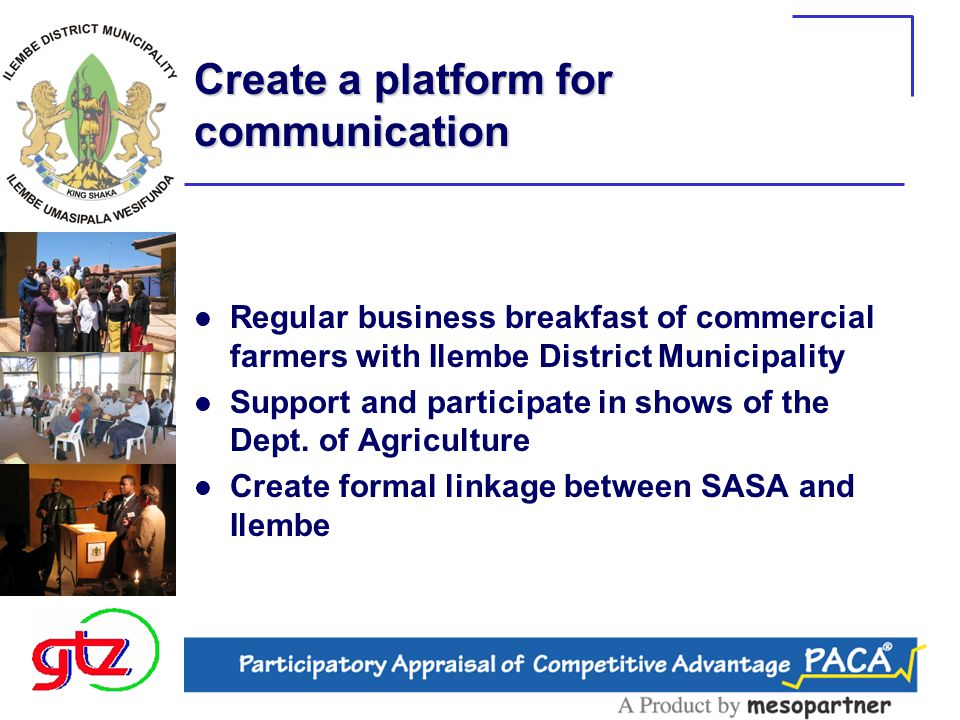 Dissemination of Information and communication Produce a Newsletter for emerging farmers Broadcast via radio stations (talkshows) –Ilembe FM launch pending Establishment of an Ilembe Agricultural desk