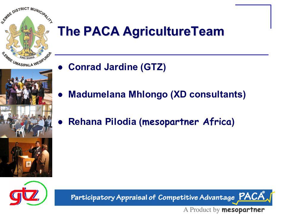 The PACA AgricultureTeam Conrad Jardine (GTZ) Madumelana Mhlongo (XD consultants) Rehana Pilodia ( mesopartner Africa )