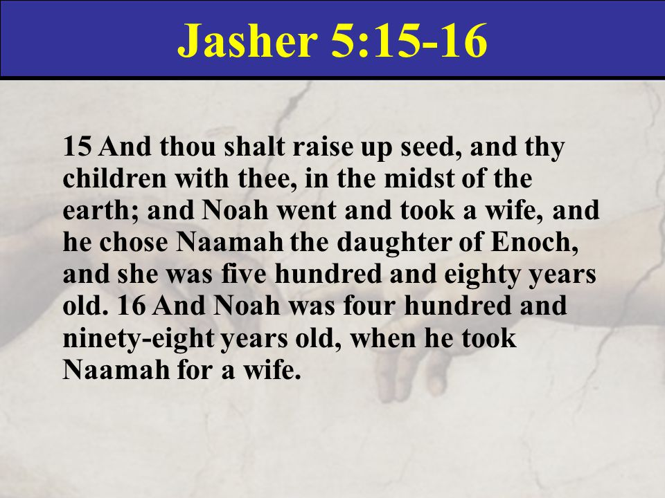 Jasher 5:15-16 15 And thou shalt raise up seed, and thy children with thee, in the midst of the earth; and Noah went and took a wife, and he chose Naamah the daughter of Enoch, and she was five hundred and eighty years old.