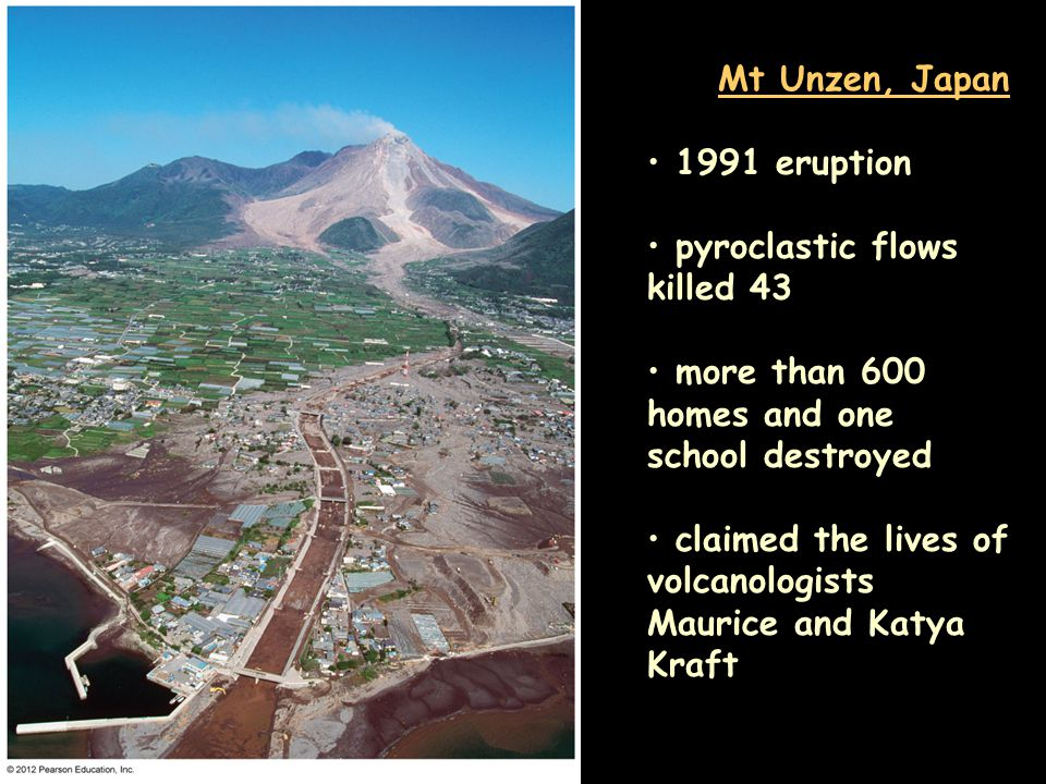 Mt Unzen, Japan 1991 eruption pyroclastic flows killed 43 more than 600 homes and one school destroyed claimed the lives of volcanologists Maurice and