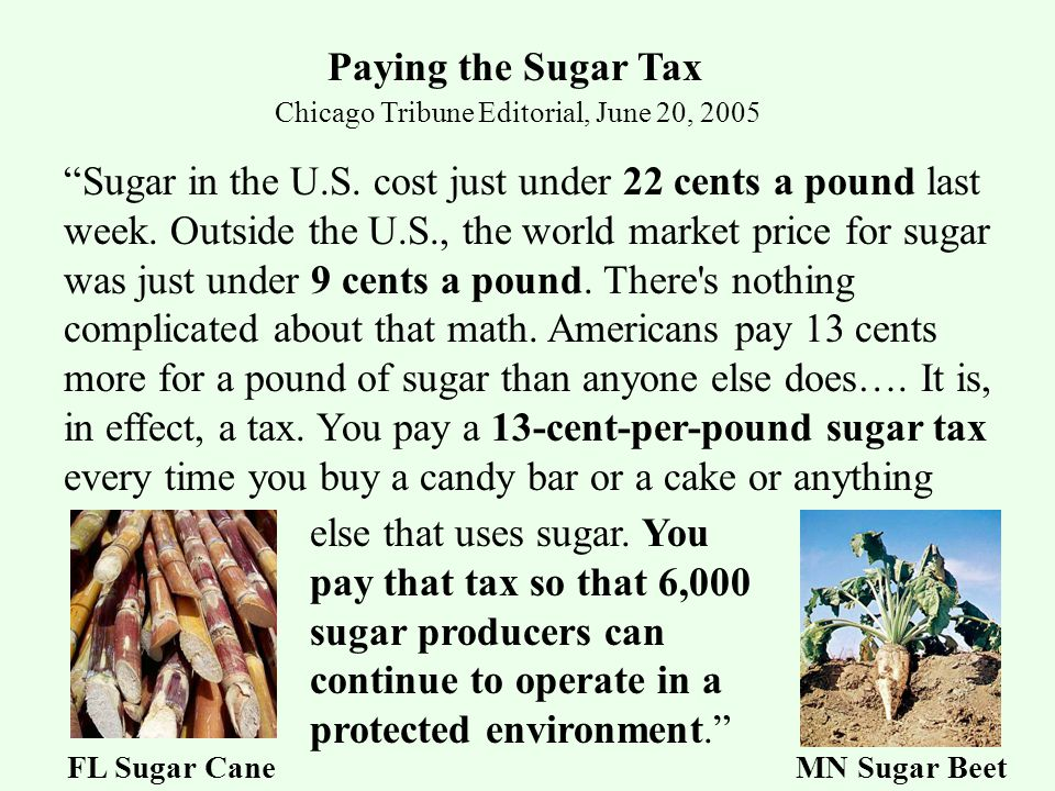 Chicago Tribune Editorial, June 20, 2005 Paying the Sugar Tax Sugar in the U.S.