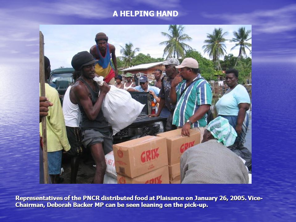 Representatives of the PNCR distributed food at Plaisance on January 26, 2005.
