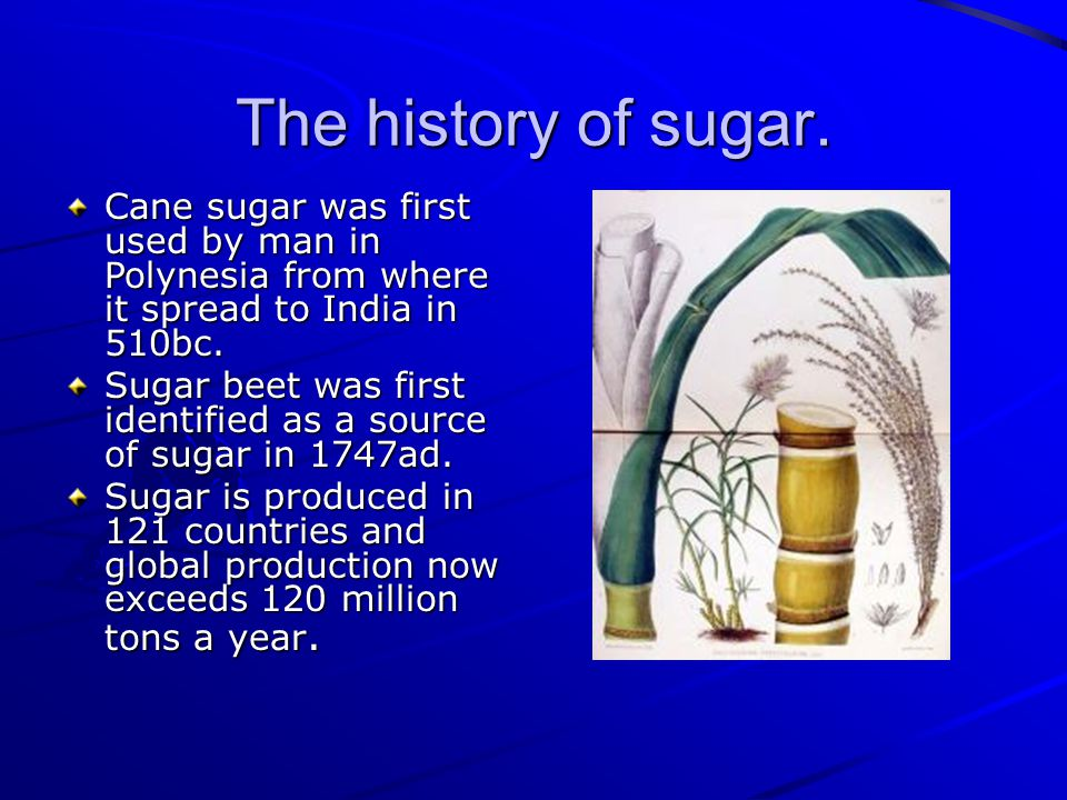 The history of sugar.
