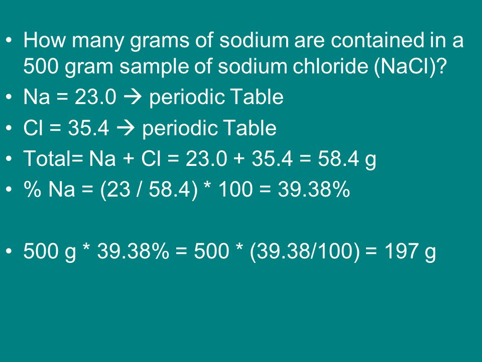 How many grams of sodium are contained in a 500 gram sample of sodium chloride (NaCl).