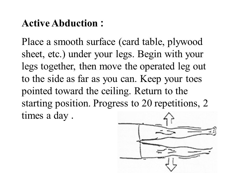Active Abduction: Place a smooth surface (card table, plywood sheet, etc.) under your legs. Begin with your legs together, then move the operated leg