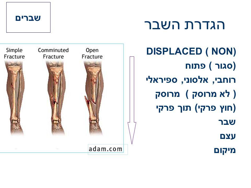 הגדרת השבר DISPLACED ( NON) (סגור ) פתוח רוחבי, אלסוני, ספיראלי ) לא מרוסק ) מרוסק (חוץ פרקי) תוך פרקי שבר עצם מיקום שברים