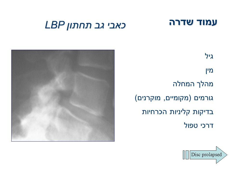 עמוד שדרה כאבי גב תחתון LBP גיל מין מהלך המחלה גורמים (מקומיים, מוקרנים) בדיקות קליניות הכרחיות דרכי טפול Disc prolapsed