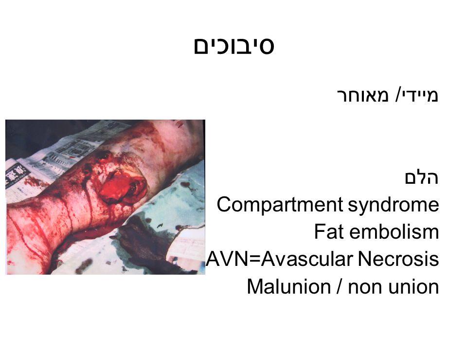 סיבוכים מיידי/ מאוחר הלם Compartment syndrome Fat embolism AVN=Avascular Necrosis Malunion / non union