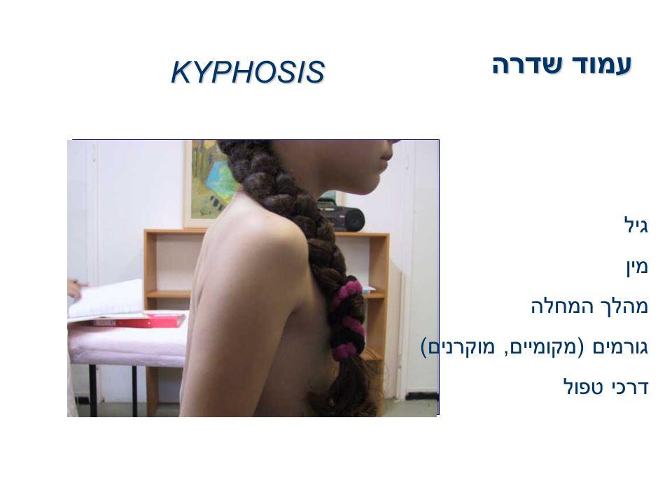 עמוד שדרה KYPHOSIS גיל מין מהלך המחלה גורמים (מקומיים, מוקרנים) דרכי טפול