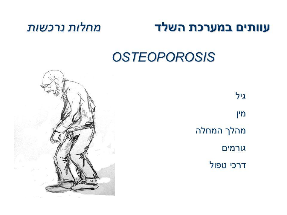 עוותים במערכת השלד מחלות נרכשות OSTEOPOROSIS גיל מין מהלך המחלה גורמים דרכי טפול