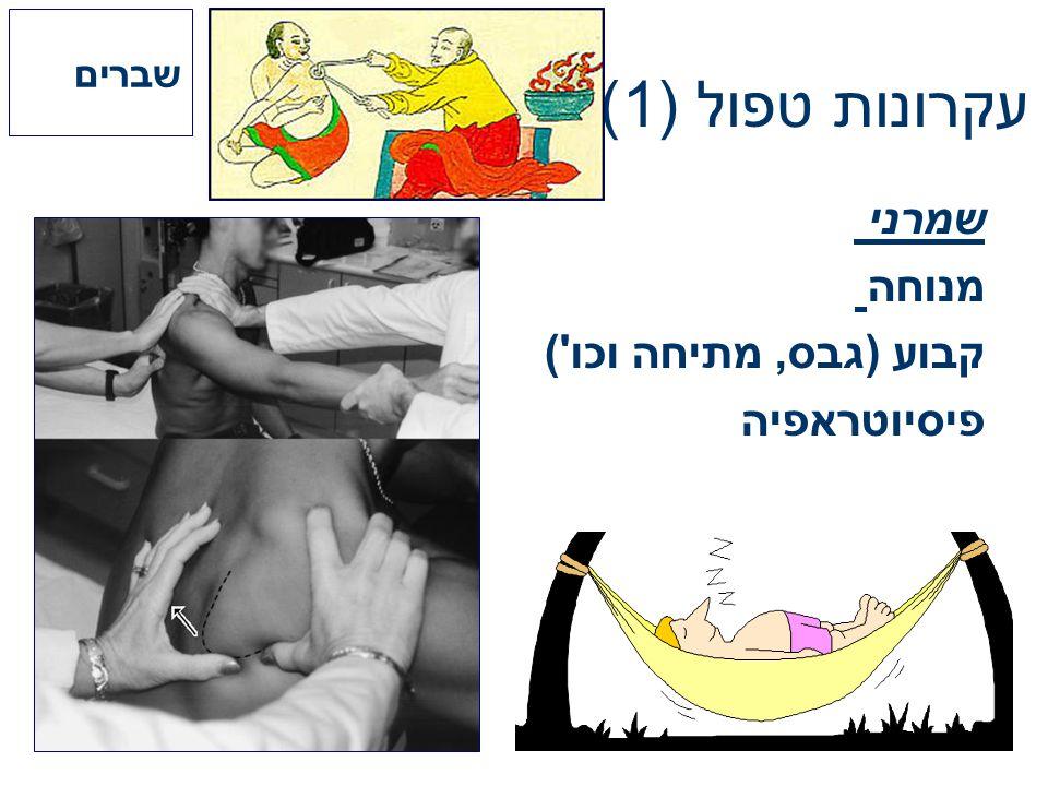עקרונות טפול (1) שמרני מנוחה קבוע (גבס, מתיחה וכו') פיסיוטראפיה שברים