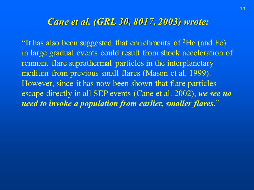 "19 Cane et al. (GRL 30, 8017, 2003) wrote: ""It has also been suggested that enrichments of 3 He (and Fe) in large gradual events could result from sho"