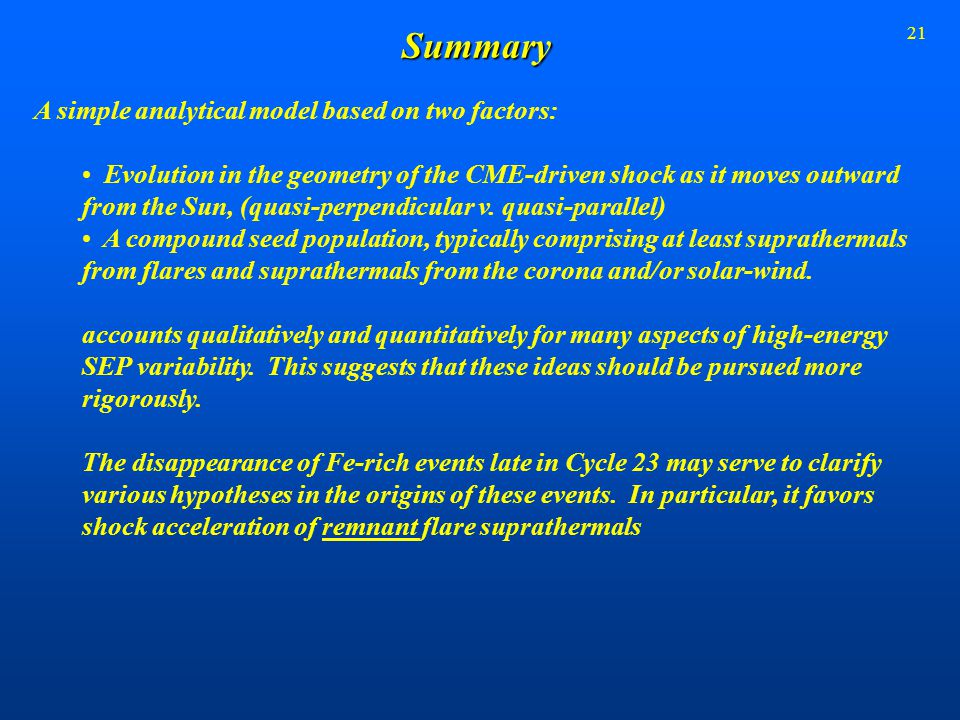 21Summary A simple analytical model based on two factors: Evolution in the geometry of the CME-driven shock as it moves outward from the Sun, (quasi-p