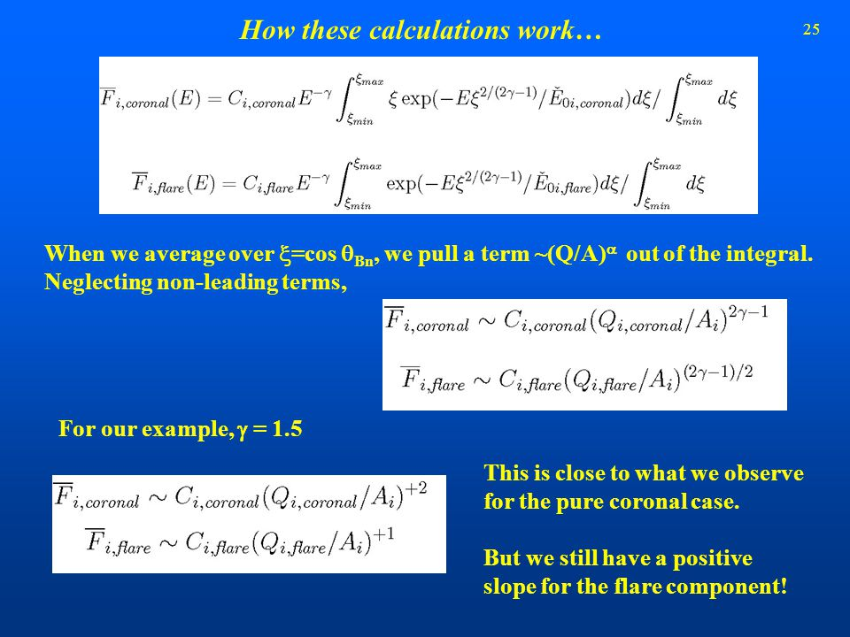 25 How these calculations work… When we average over  =cos  Bn, we pull a term ~(Q/A)  out of the integral. Neglecting non-leading terms, For our e