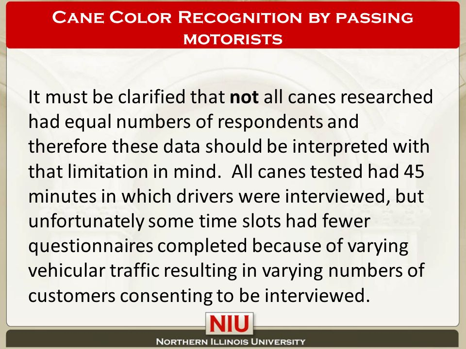 It must be clarified that not all canes researched had equal numbers of respondents and therefore these data should be interpreted with that limitation in mind.