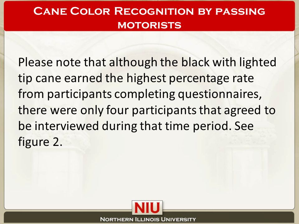 Please note that although the black with lighted tip cane earned the highest percentage rate from participants completing questionnaires, there were only four participants that agreed to be interviewed during that time period.