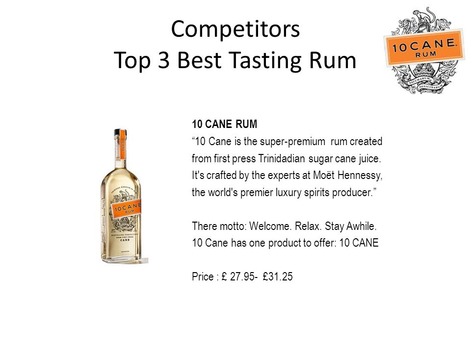 Competitors Top 3 Best Tasting Rum 10 CANE RUM 10 Cane is the super-premium rum created from first press Trinidadian sugar cane juice.