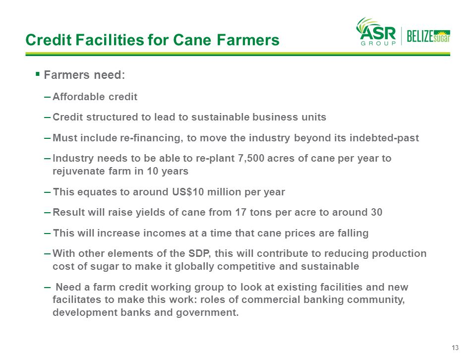 Credit Facilities for Cane Farmers  Farmers need: — Affordable credit — Credit structured to lead to sustainable business units — Must include re-fin