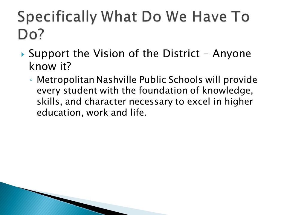  Support the Vision of the District – Anyone know it.