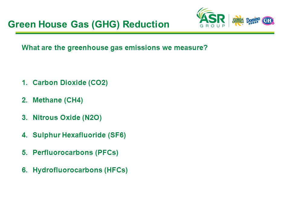 Green House Gas (GHG) Reduction What are the greenhouse gas emissions we measure? 1.Carbon Dioxide (CO2) 2.Methane (CH4) 3.Nitrous Oxide (N2O) 4.Sulph