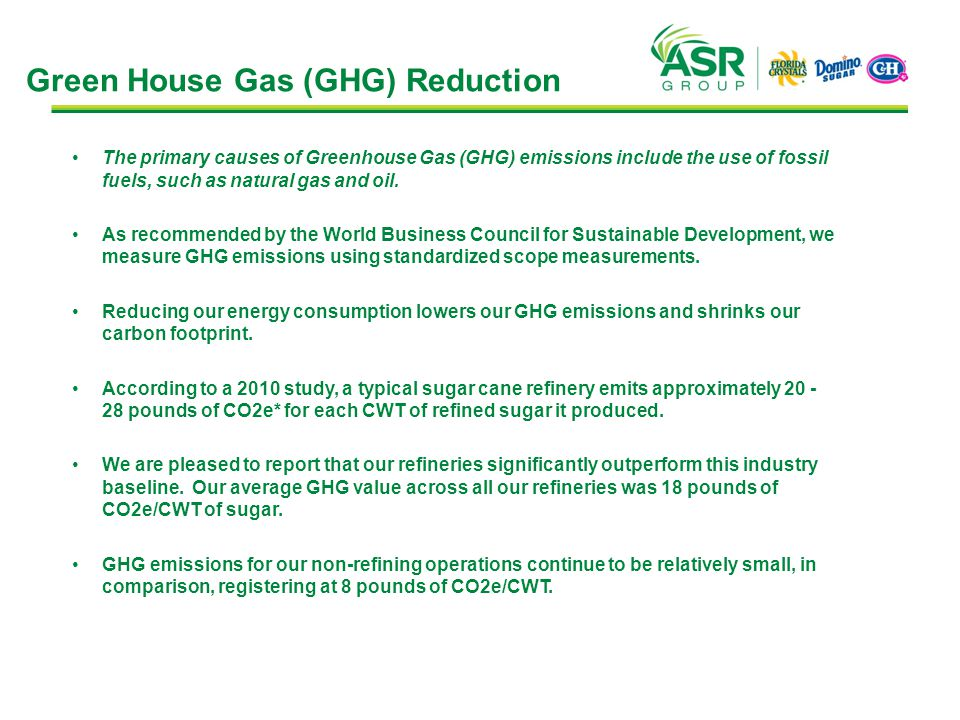 Green House Gas (GHG) Reduction The primary causes of Greenhouse Gas (GHG) emissions include the use of fossil fuels, such as natural gas and oil.