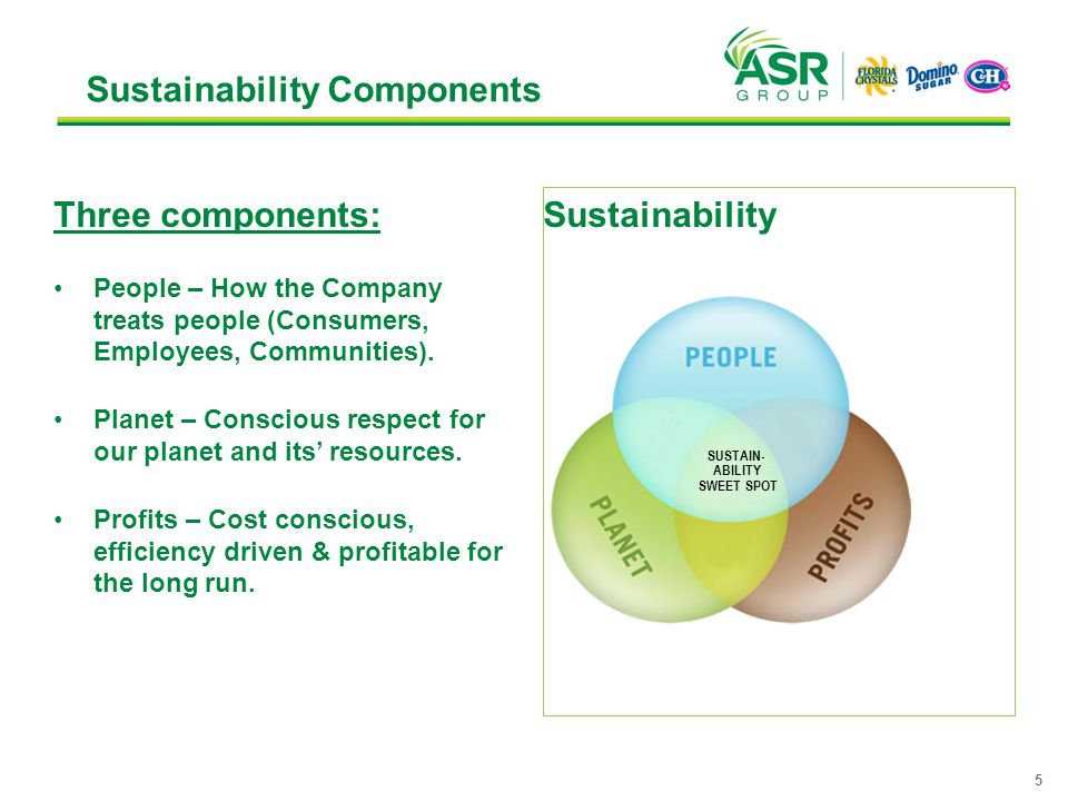Sustainability Components Three components: People – How the Company treats people (Consumers, Employees, Communities). Planet – Conscious respect for