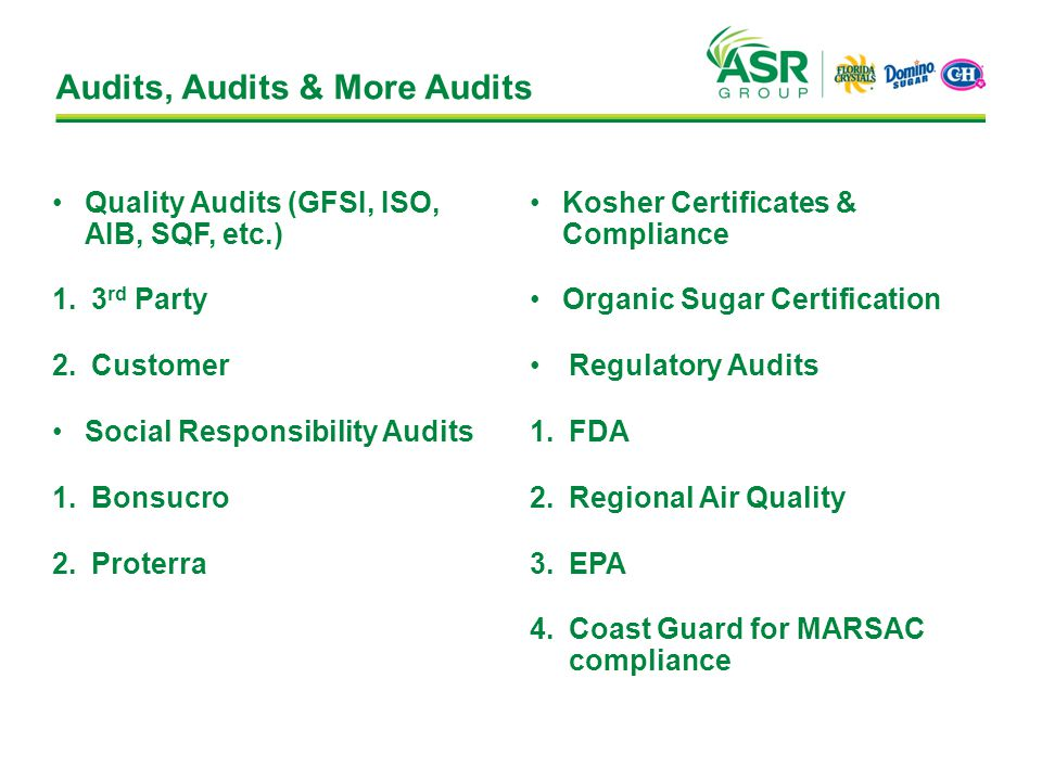 Audits, Audits & More Audits Quality Audits (GFSI, ISO, AIB, SQF, etc.) 1.3 rd Party 2.Customer Social Responsibility Audits 1.Bonsucro 2.Proterra Kosher Certificates & Compliance Organic Sugar Certification Regulatory Audits 1.FDA 2.Regional Air Quality 3.EPA 4.Coast Guard for MARSAC compliance