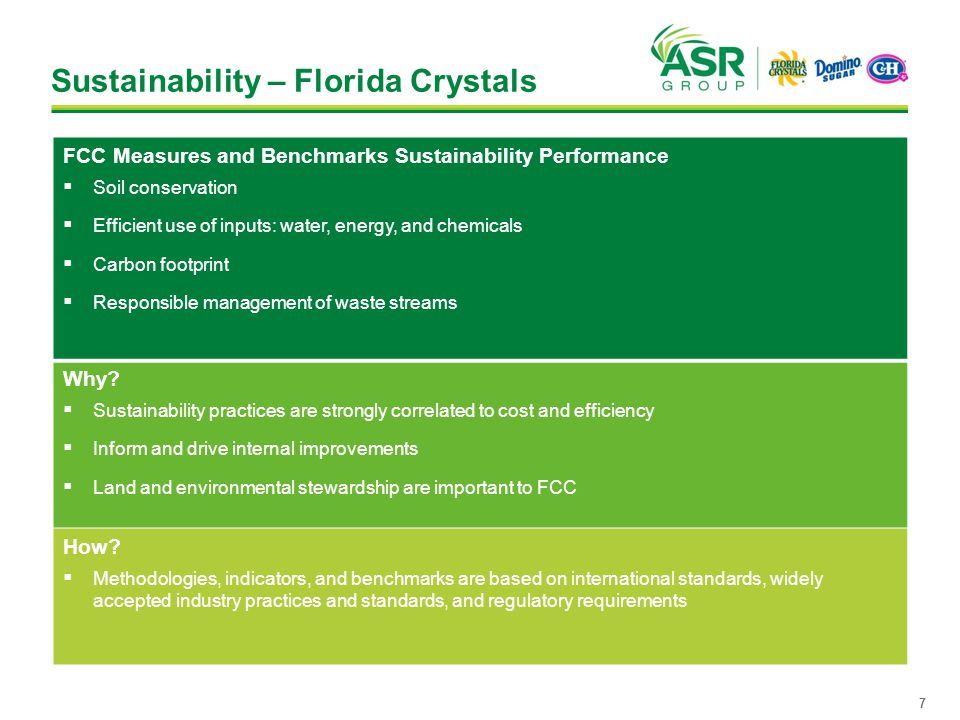 Sustainability – Florida Crystals FCC Measures and Benchmarks Sustainability Performance  Soil conservation  Efficient use of inputs: water, energy, and chemicals  Carbon footprint  Responsible management of waste streams Why.
