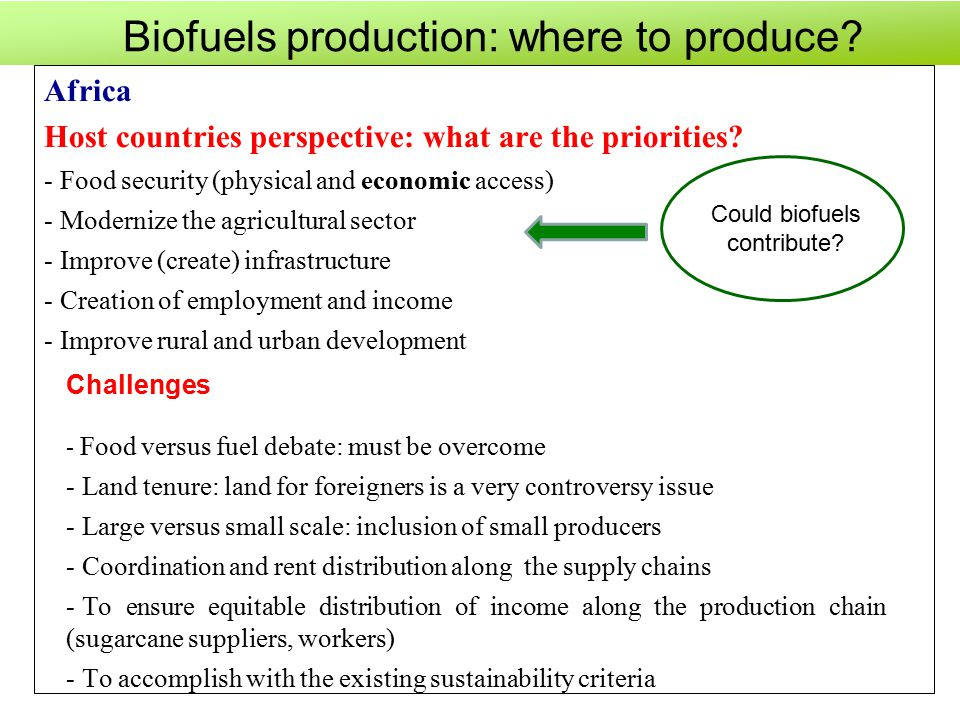Biofuels production: where to produce. Africa Host countries perspective: what are the priorities.