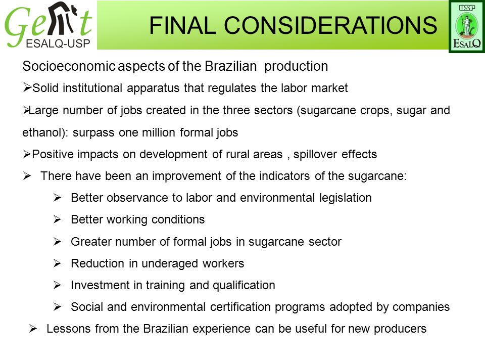 Socioeconomic aspects of the Brazilian production  Solid institutional apparatus that regulates the labor market  Large number of jobs created in the three sectors (sugarcane crops, sugar and ethanol): surpass one million formal jobs  Positive impacts on development of rural areas, spillover effects  There have been an improvement of the indicators of the sugarcane:  Better observance to labor and environmental legislation  Better working conditions  Greater number of formal jobs in sugarcane sector  Reduction in underaged workers  Investment in training and qualification  Social and environmental certification programs adopted by companies  Lessons from the Brazilian experience can be useful for new producers FINAL CONSIDERATIONS