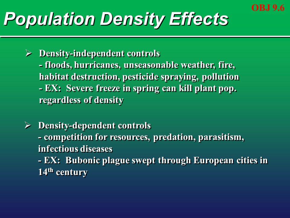 Population Density Effects  Density-independent controls - floods, hurricanes, unseasonable weather, fire, habitat destruction, pesticide spraying, p