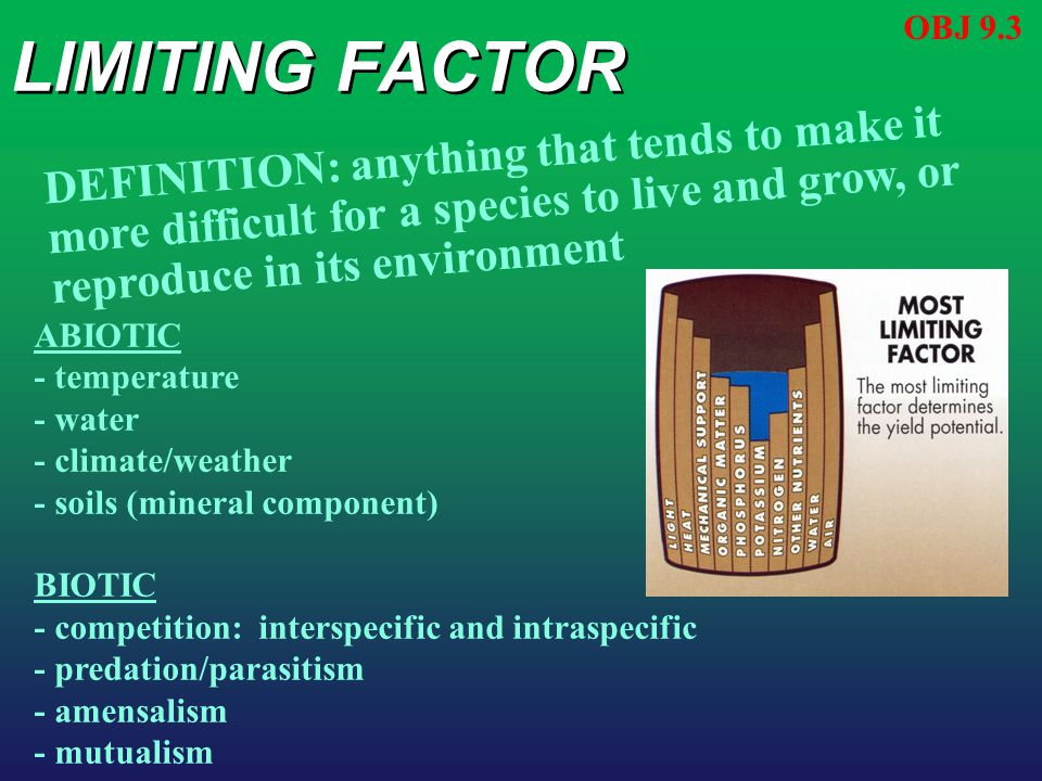 LIMITING FACTOR OBJ 9.3 DEFINITION: anything that tends to make it more difficult for a species to live and grow, or reproduce in its environment ABIO