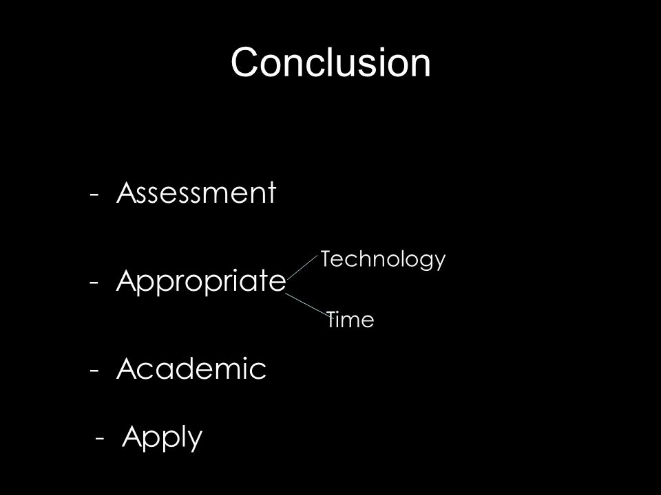 Conclusion - Assessment - Appropriate Technology Time - Academic - Apply