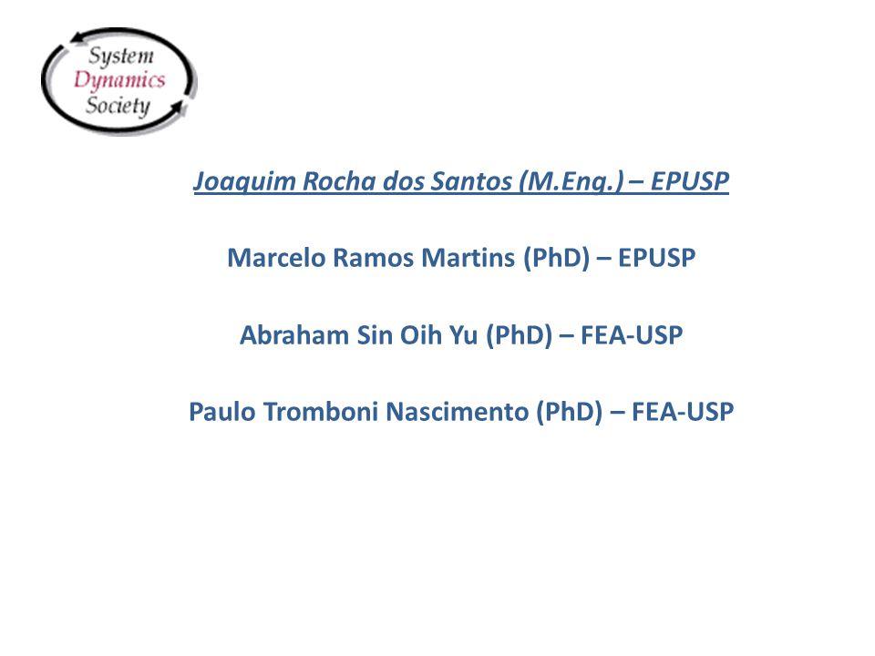Joaquim Rocha dos Santos (M.Eng.) – EPUSP Marcelo Ramos Martins (PhD) – EPUSP Abraham Sin Oih Yu (PhD) – FEA-USP Paulo Tromboni Nascimento (PhD) – FEA-USP