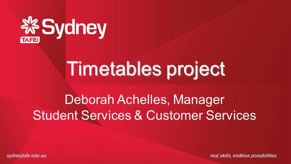 sydneytafe.edu.aureal skills, endless possibilities Timetables project Deborah Achelles, Manager Student Services & Customer Services