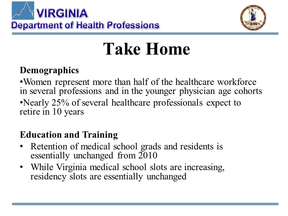 Take Home Demographics Women represent more than half of the healthcare workforce in several professions and in the younger physician age cohorts Nearly 25% of several healthcare professionals expect to retire in 10 years Education and Training Retention of medical school grads and residents is essentially unchanged from 2010 While Virginia medical school slots are increasing, residency slots are essentially unchanged