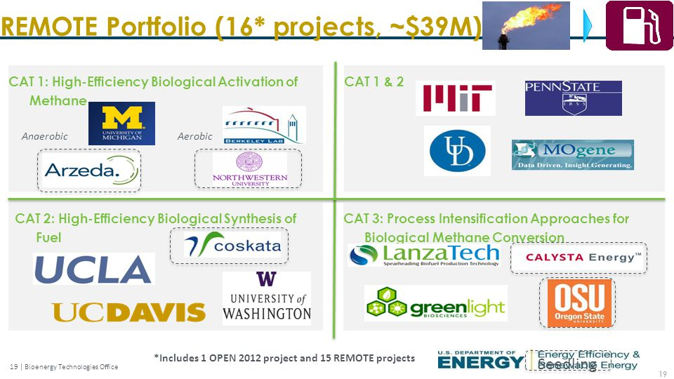19 | Bioenergy Technologies Office CAT 2: High-Efficiency Biological Synthesis of Fuel CAT 3: Process Intensification Approaches for Biological Methane Conversion CAT 1: High-Efficiency Biological Activation of Methane Seedling CAT 1 & 2 AnaerobicAerobic REMOTE Portfolio (16* projects, ~$39M) 19 *Includes 1 OPEN 2012 project and 15 REMOTE projects