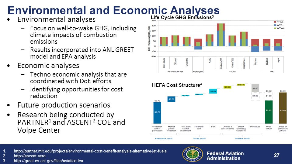 Federal Aviation Administration 27 Environmental and Economic Analyses Environmental analyses –Focus on well-to-wake GHG, including climate impacts of combustion emissions –Results incorporated into ANL GREET model and EPA analysis Economic analyses –Techno economic analysis that are coordinated with DoE efforts –Identifying opportunities for cost reduction Future production scenarios Research being conducted by PARTNER 1 and ASCENT 2 COE and Volpe Center 1.http://partner.mit.edu/projects/environmental-cost-benefit-analysis-alternative-jet-fuels 2.http://ascent.aero 3.http://greet.es.anl.gov/files/aviation-lca 4.http://www.masbi.org/content/assets/MASBI_Report.pdf HEFA Cost Structure 4 Life Cycle GHG Emissions 3