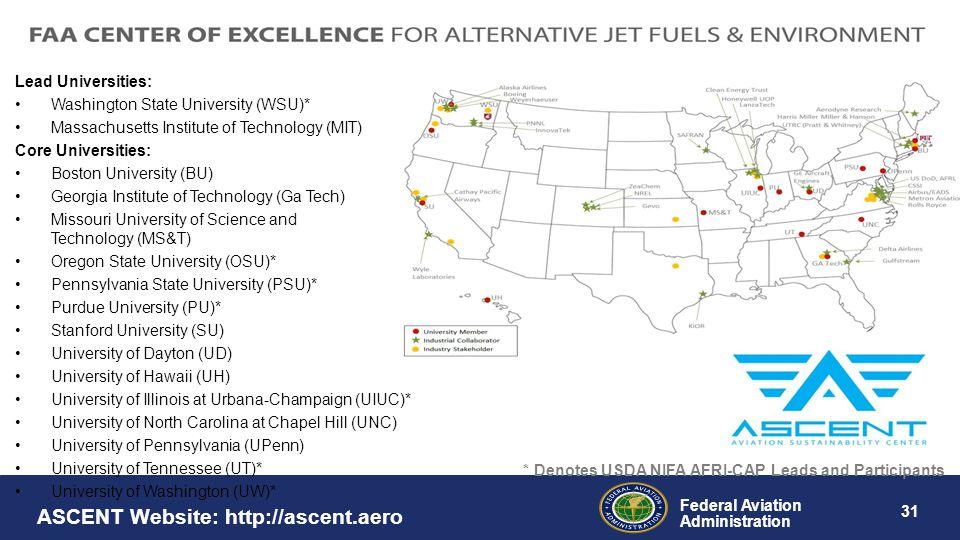 Federal Aviation Administration 31 ASCENT Website: http://ascent.aero Lead Universities: Washington State University (WSU)* Massachusetts Institute of