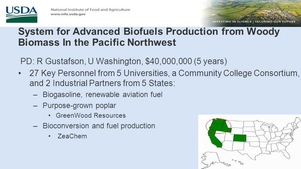 Northwest Advanced Renewables Alliance (NARA): New Vista for Green Fuels, Chemicals, and Products PD: R Cavalieri, WA St U, $40,000,000 (5 years) 41 Key Personnel representing 9 Universities, 3 Federal Partners, and 6 Industrial Partners from 9 States: –Renewable aviation fuel, value-added industrial chemicals –Woody biomass residues –Weyerhaeuser, other land owners –Bioconversion and fuel production Gevo, Catchlight –Boeing is on advisory board