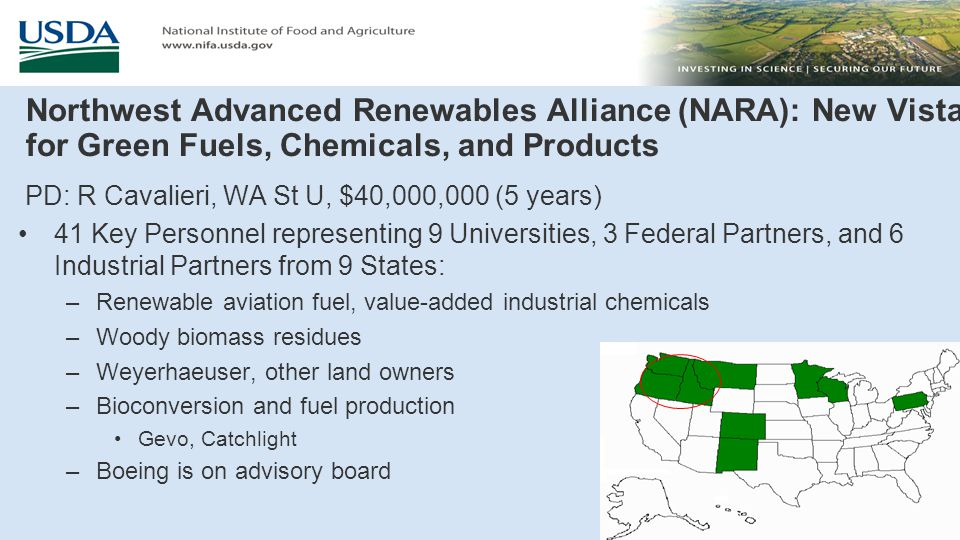 A Regional Program for Production of Multiple Agricultural Feedstocks And Processing to Biofuels and Biobased Chemicals PD: D Day, LA St U, $17,300,000 (5 years) 37 Total Key Personnel from 5 Universities, 1 Federal Partner, and 7 Industry Partners in 7 States: –Biobutanol, gasoline, aviation fuel and industrial chemicals –Energy cane (ARS, SRU) and sweet sorghum (Ceres) –Logistics (John Deere) –Bioconversion to sugars, fuel and chemical production Virent, DuPont/Genencor, Optinol, MS Processes, Intl.