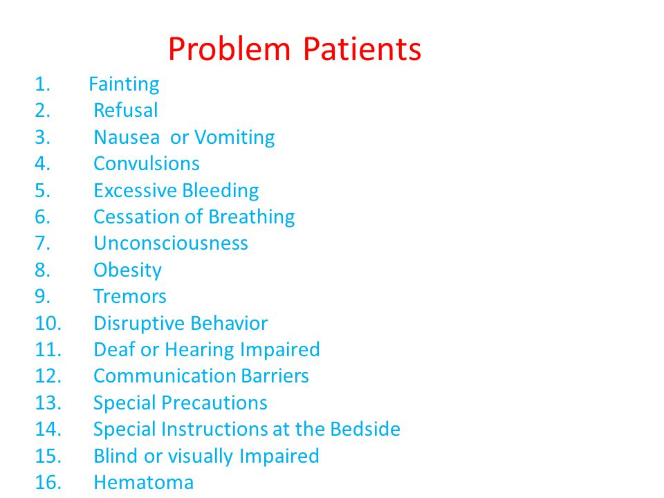 Problem Patients 1.Fainting 2. Refusal 3. Nausea or Vomiting 4. Convulsions 5. Excessive Bleeding 6. Cessation of Breathing 7. Unconsciousness 8. Obes