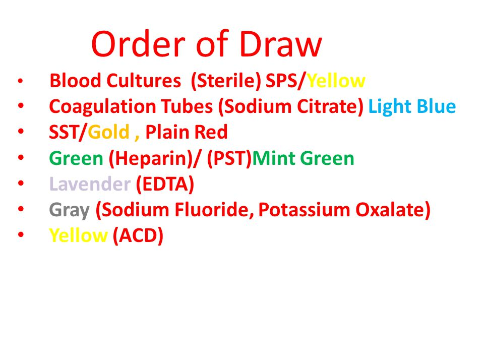 Order of Draw Blood Cultures (Sterile) SPS/Yellow Coagulation Tubes (Sodium Citrate) Light Blue SST/Gold, Plain Red Green (Heparin)/ (PST)Mint Green L